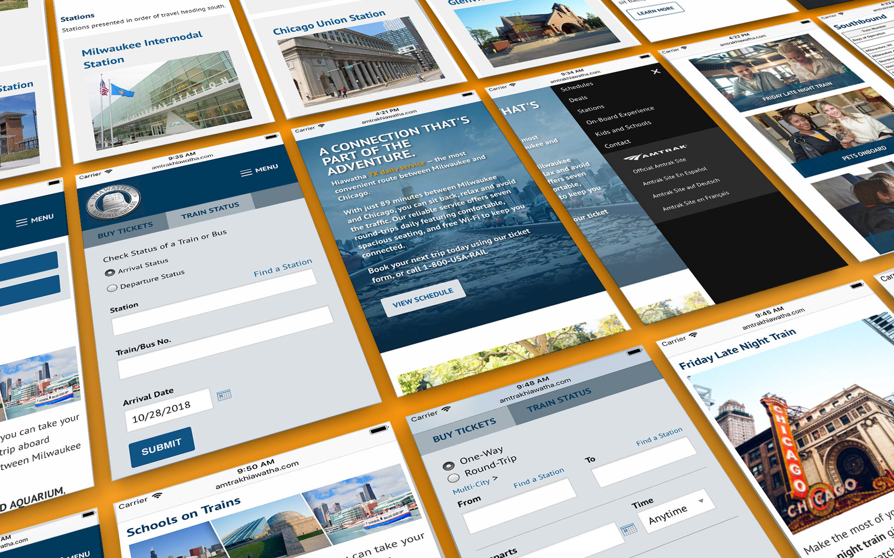 Amtrak Hiawatha website design - mobile pages