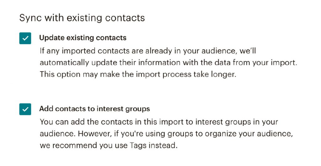 mailchimp instructions groups