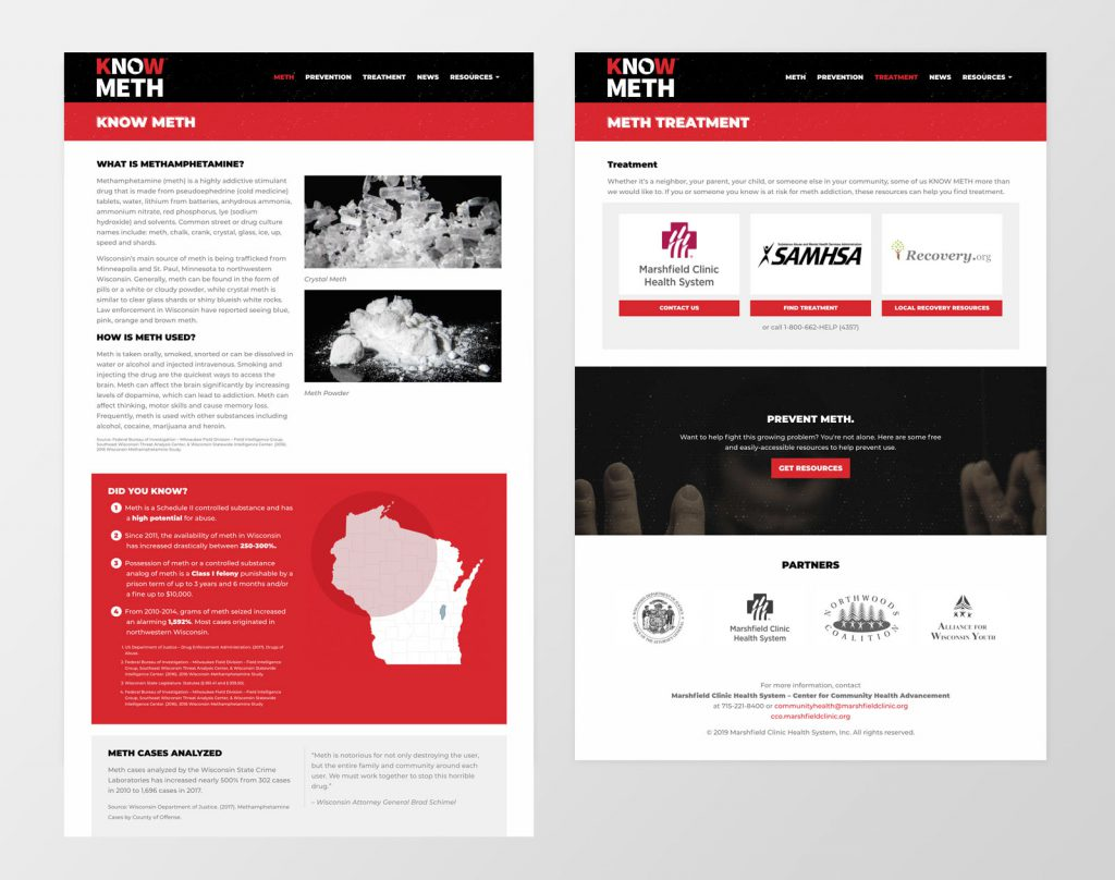 Know Meth website secondary page design